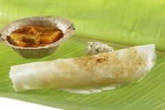 Plain Dosa With Chutney And Sambhar. Royalty Free Stock Images