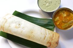 A plain Dosa served with Sambhar and Coconut Chutney Royalty Free Stock Photos