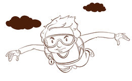 A plain drawing of a boy skydiving Royalty Free Stock Photos