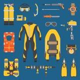 Plain flat color vector diver underwater equipment icon set. Retro. Cartoon style. Ocean, sea beach. Snorkeling. Summer. Adventure vacation. Scuba. Aqualung Stock Image