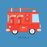 Plain flat vector color icon fire truck. Emergency assistance vehicle. Cartoon style. Fireman. Maintenance. Rescue. Fire. Department. Extinguisher. Siren. Road Stock Photo