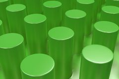 Plain green surface with cylinders. Abstract background. 3D rendering illustration Royalty Free Stock Image