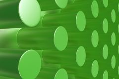 Plain green surface with cylinders. Abstract background. 3D rendering illustration Royalty Free Stock Photos