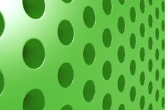 Plain green surface with cylindrical holes Stock Photos