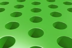 Plain green surface with cylindrical holes. Abstract background. 3D rendering illustration Royalty Free Stock Photography