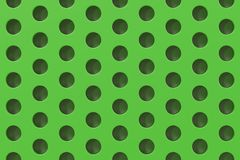 Plain green surface with cylindrical holes. Abstract background. 3D rendering illustration Royalty Free Stock Images