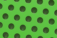 Plain green surface with cylindrical holes. Abstract background. 3D rendering illustration Stock Images