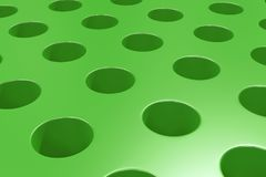 Plain green surface with cylindrical holes. Abstract background. 3D rendering illustration Royalty Free Stock Photos