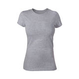 Plain Grey Woman Shirt Stock Photo