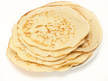 Plain homemade pancakes against white Stock Photo