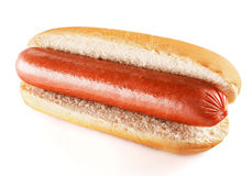 Plain hot dog with big sausage. Isolated on white background Stock Images