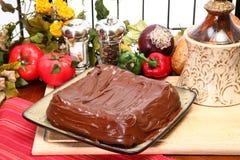 Plain Iced Chocolate Cake stock images