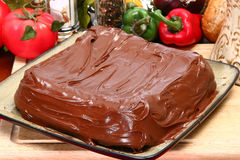 Plain Iced Chocolate Cake royalty free stock image