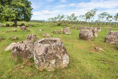 Plain of Jars in Laos. Plain of Jars near the town of Phonsavan in north Laos. Their purpose are still an enigma Royalty Free Stock Image