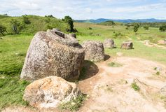 Plain of Jars in Laos. Plain of Jars near the town of Phonsavan in north Laos. Their purpose are still an enigma Royalty Free Stock Images