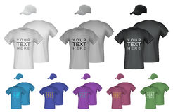 Plain men t-shirt and cap templates. Royalty Free Stock Photos