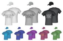 Plain men t-shirt and cap templates. Royalty Free Stock Photos