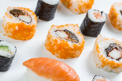 Plain  mixed sushi rolls. Some plain  mixed sushi rolls Stock Images