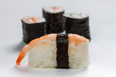Plain  mixed sushi rolls. Some plain  mixed sushi rolls Stock Image