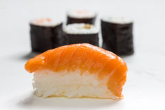 Plain  mixed sushi rolls. Some plain  mixed sushi rolls Royalty Free Stock Image