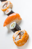 Plain  mixed sushi rolls. Some plain  mixed sushi rolls Royalty Free Stock Images