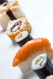 Plain  mixed sushi rolls. Some plain  mixed sushi rolls Royalty Free Stock Photography