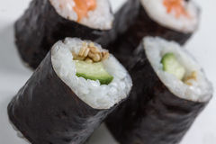 Plain  mixed sushi rolls. Some plain  mixed sushi rolls Stock Photos