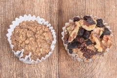 Plain muffin and walnut raisin muffin Stock Photos