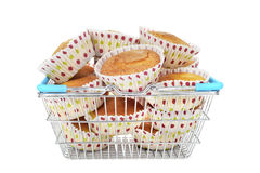 Plain muffins in a shopping basket Stock Image
