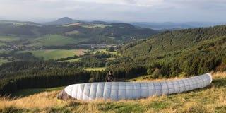 Plain paraglider chute on the wasserkuppe germany Stock Photos