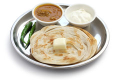 Plain paratha with curry and yogurt Stock Photo