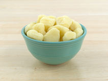 Plain potato gnocchi in a green bowl Stock Photos