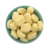 Plain potato gnocchi in a green bowl Stock Image