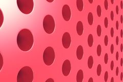 Plain red surface with cylindrical holes Stock Photo