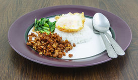 Plain rice deep fried pork with garlic and pepper Stock Photography