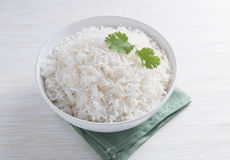 Plain rice in round bowl Stock Photography