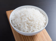 Plain rice in round bowl Stock Photo