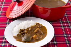 Plain rice with stewed beef soup on white dish and caro tableclo Royalty Free Stock Photography
