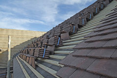 Plain roof tiles on new house under construction Stock Photos