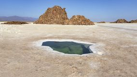 Plain of salt with salty pond and salt rocks in the Danakil Depression in Ethiopia, Africa. Plain of salt with salty pond and salt rocks in the Danakil royalty free stock photography