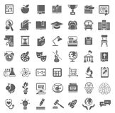 Flat School Icons Monochrome Silhouettes Stock Photo