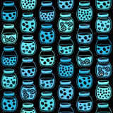 Plain seamless pattern with the fruit jam jars on a black background. Stock Photography