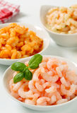 Plain and seasoned shrimps Stock Photos