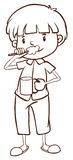 A plain sketch of a boy brushing his teeth stock illustration