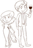 A plain sketch of a boy and a girl in their formal attires Stock Images