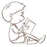 A plain sketch of a boy studying Royalty Free Stock Photography