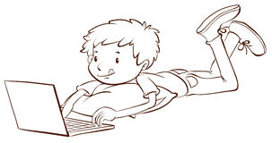 A plain sketch of a boy using a laptop Royalty Free Stock Photo