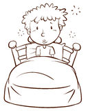 A plain sketch of a boy waking up. Illustration of a plain sketch of a boy waking up on a white background Stock Photos