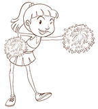 A plain sketch of a cheerer with pompoms Stock Image