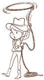 A plain sketch of a cowgirl Stock Images